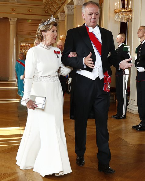King Harald V, Queen Sonja, Crown Prince Haakon, Crown Princess Mette-Marit and Princess Astrid, Slovakia's President Andrej Kiska. Diamon tiara