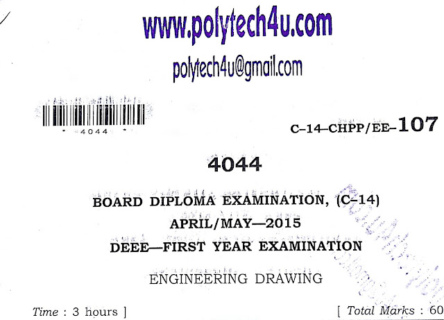 ENGINEERING DRAWING SBTETAP C-14 DEEE OLD QUESTION PAPER