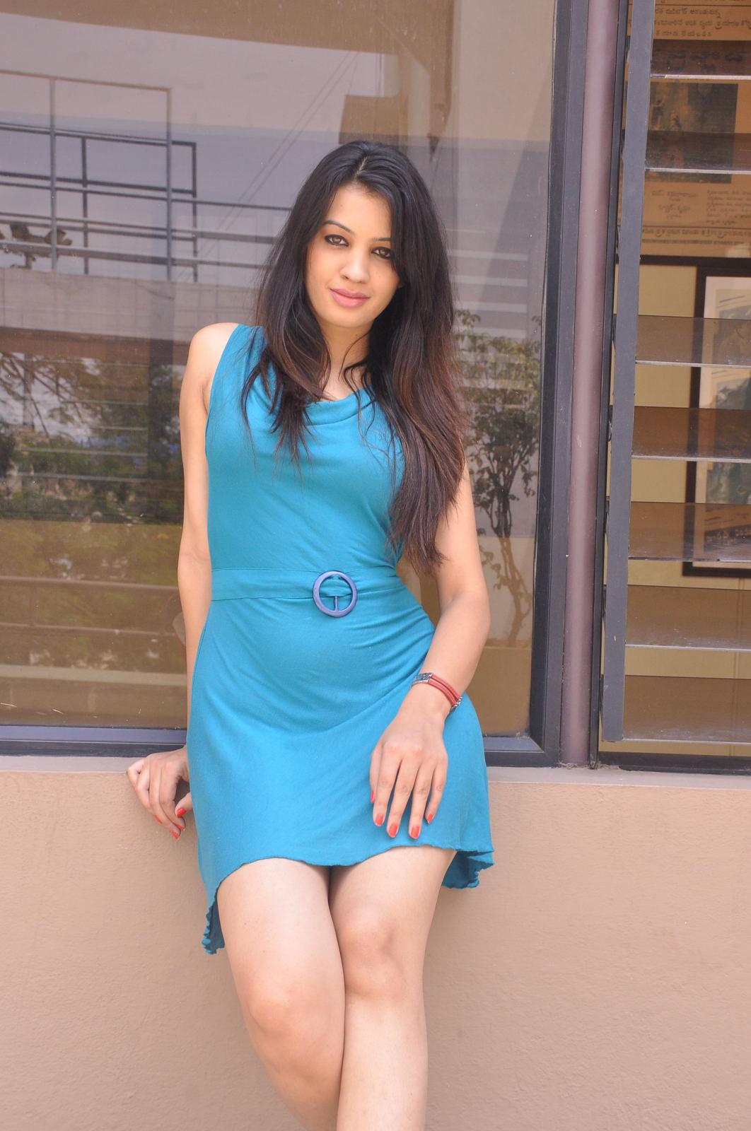 hot sexy New actress deeksha panth in blue dress photos gallery