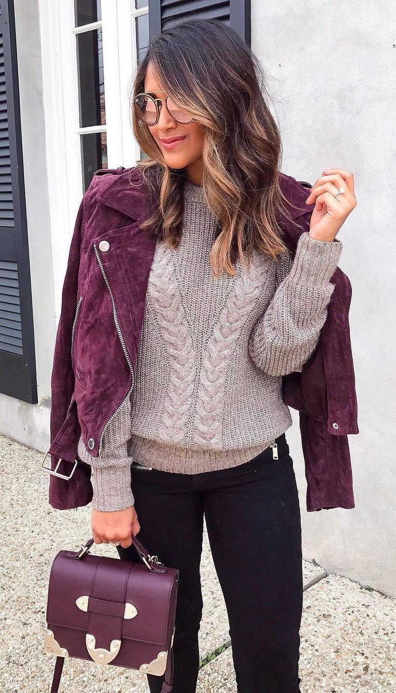 how to wear a biker jacket : sweater + bag + black skinny jeans