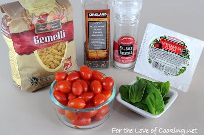 Caprese Pasta Salad with a White Balsamic Vinaigrette