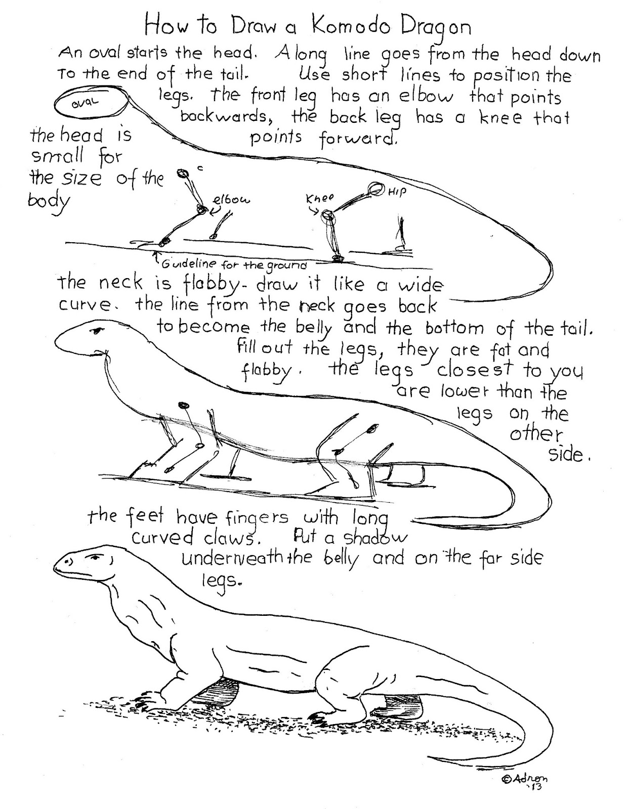 How To Draw Worksheets For The Young Artist How To Draw A Komodo Dragon Worksheet