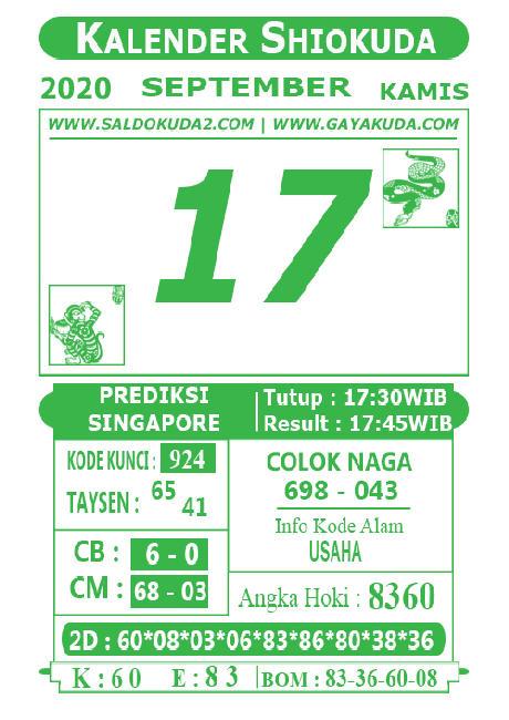 Kode syair Singapore Kamis 17 September 2020 118