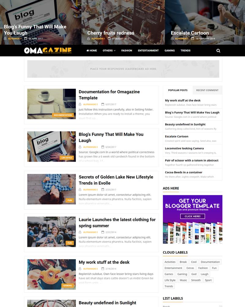 Omagazine Responsive Blogger Template