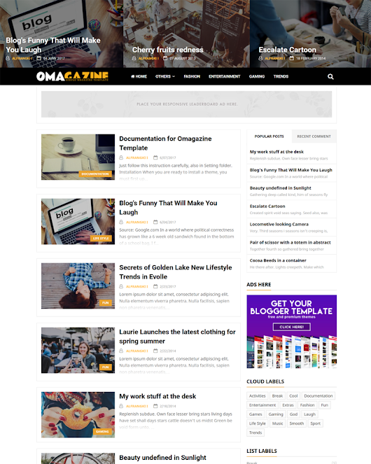 Omagazine Responsive Blogger Template | Themeindie.com