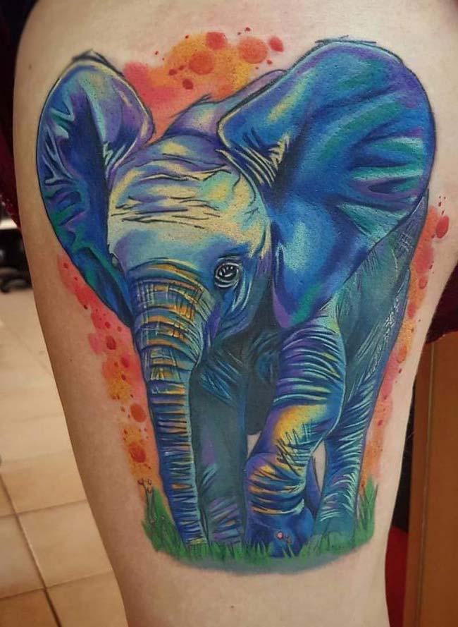 mavi fil dövmesi