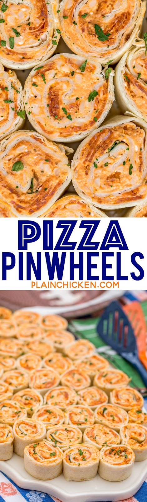 Pizza Pinwheels Recipe - I am ADDICTED to these sandwiches! Cream cheese, pizza sauce, mozzarella cheese and pepperoni wrapped in a tortilla. Can make ahead of time and refrigerate until ready to eat. Perfect for parties and tailgating!!