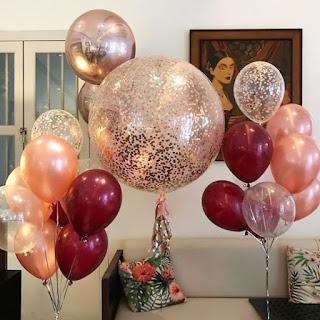 Big confetti balloon, rose gold confetti balloon, burgundy balloons, rose gold balloons, confetti party balloons