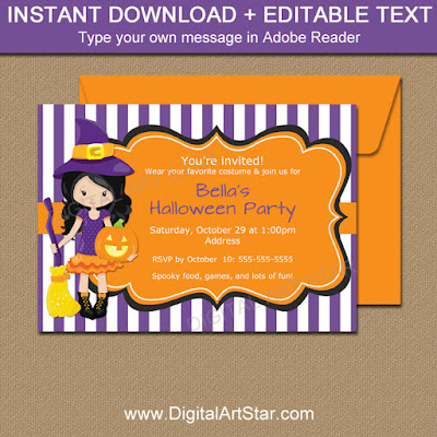 Witch Halloween invitation for kids Halloween party