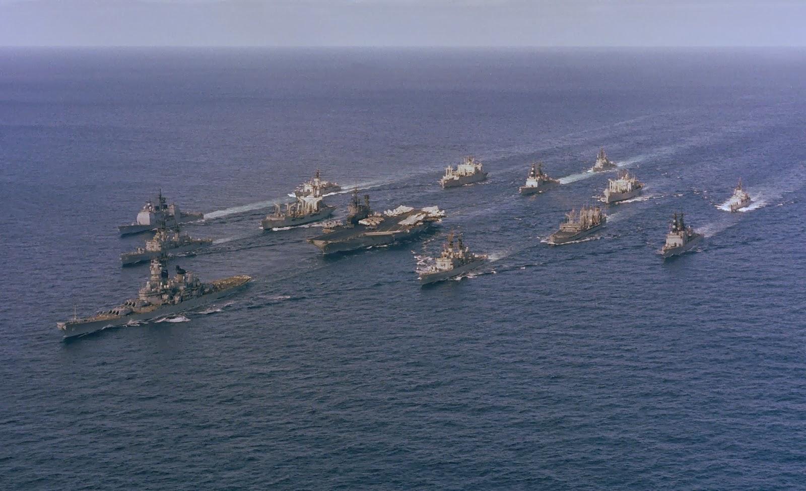 battleship battle group u s s iowa in lead  [ 1600 x 975 Pixel ]