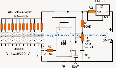 Easy Electronic Circuits: Pulse Width LED Light Controller