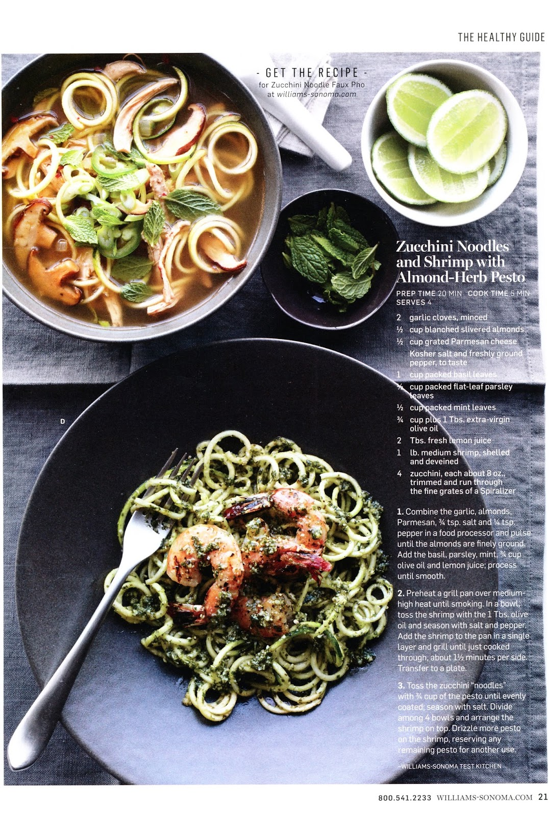 Recipe: Zucchini Noodles and Shrimp with Almond-Herb Pesto