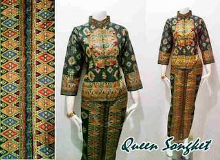 Model Baju Gamis Muslim Kombinasi Songket Terbaru