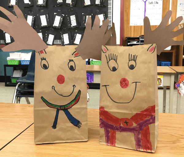 Show and Tell Tuesday Linky. Four fun and cute reindeer crafts for six-year olds to make: A card, ornament, gift bag, and sponge painting. GradeONEderful.com