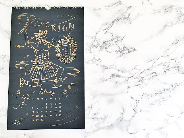 rifle paper co constellations wall calendar 2017 orion february