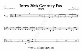 Partitura de la Sintonía de la 20th Century Fox para Viola by Alfred Newman Sheet Music for Viola Music Scores