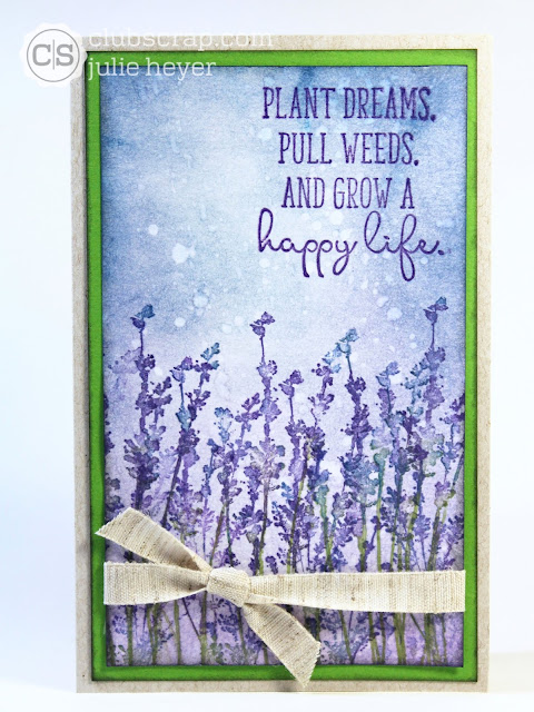 Lavender Fields Distress Oxide Card #clubscrap #lavender #distressoxides #cards