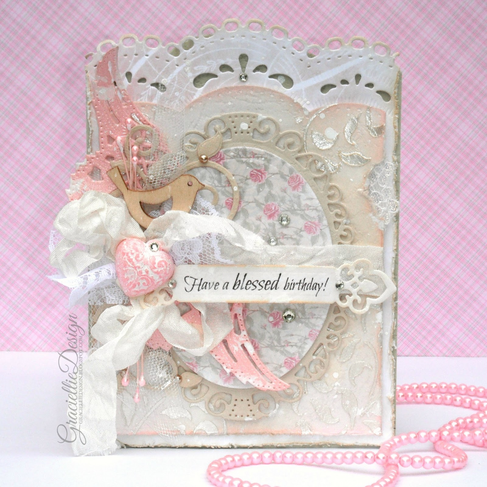 Soft Shabby Chic Birthday Card br small Mixing Textures