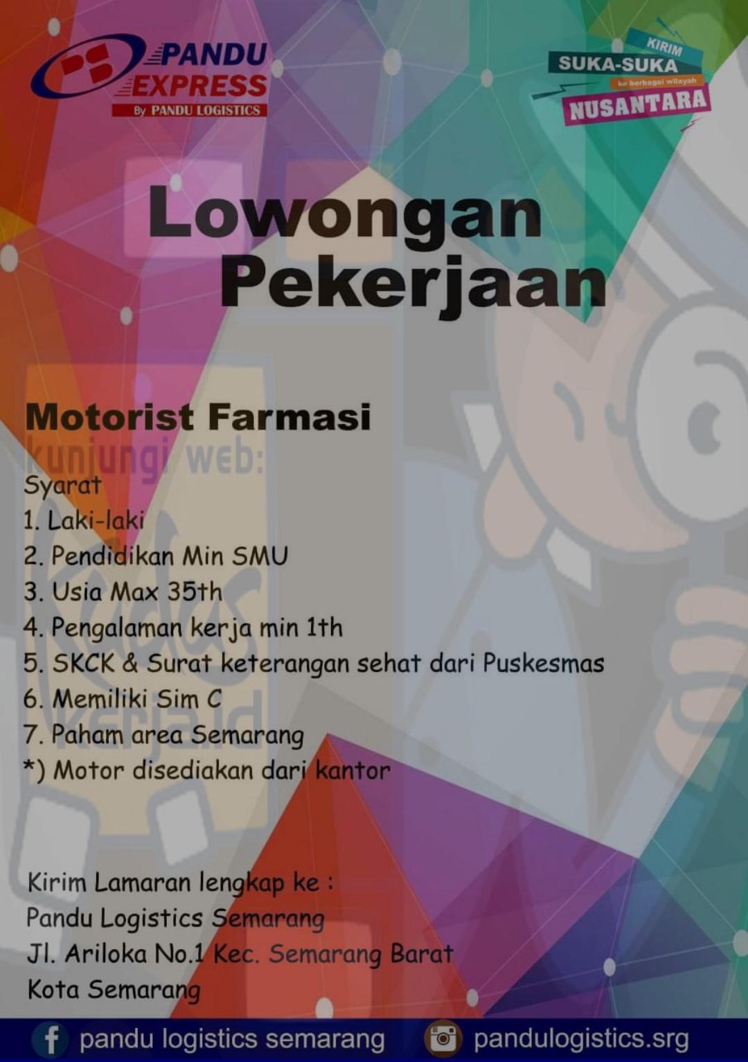 Lowongan Kerja Pandu Logistic Exspress Loker Semarang Lowongan