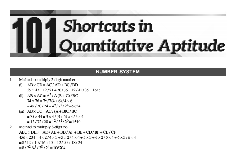101 maths tricks and shortcuts (section wise) pdf download