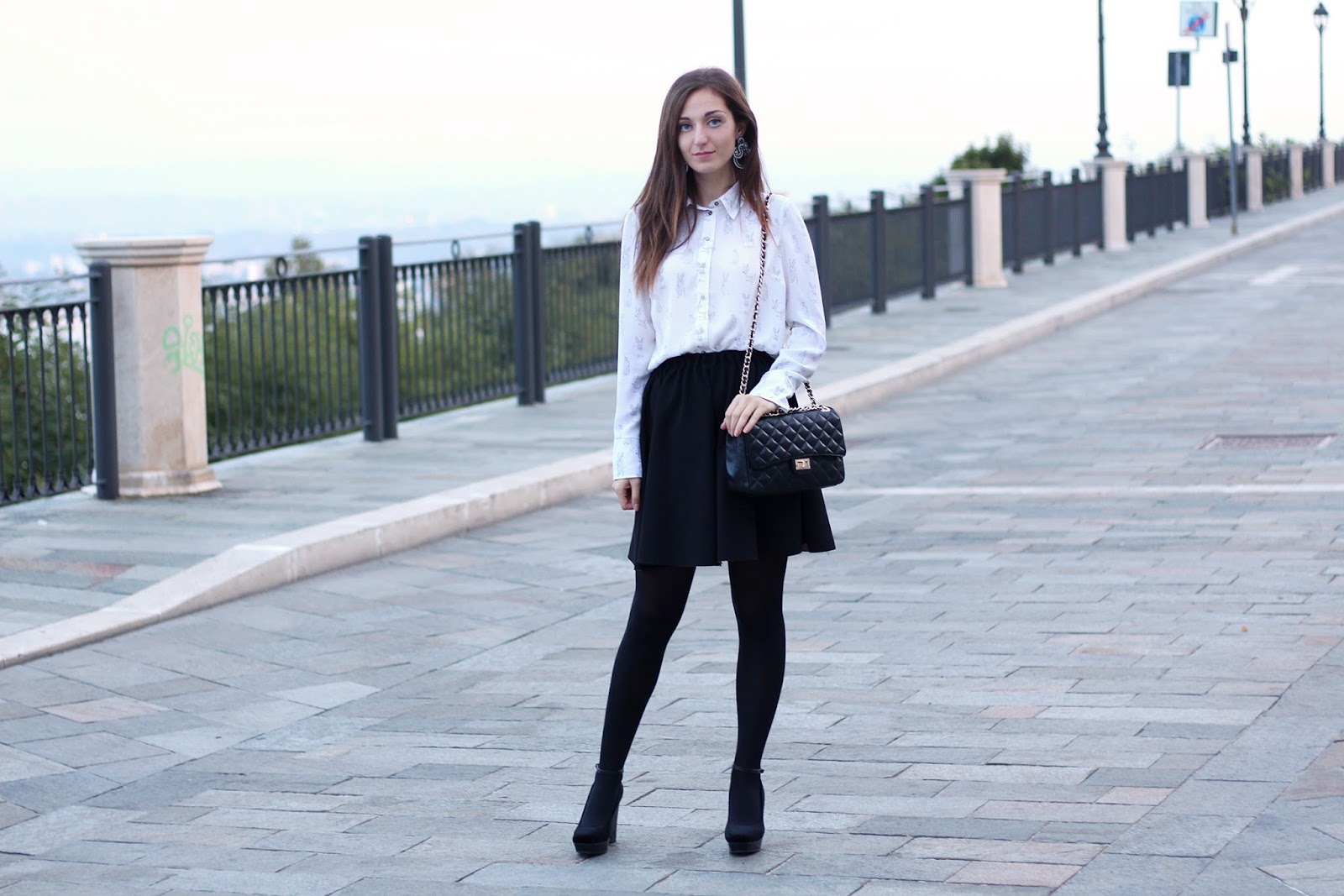 fashion blogger outfit ootd zara skirt adels laboratory soutache earrings rabbit shirt h&m shoes wedge