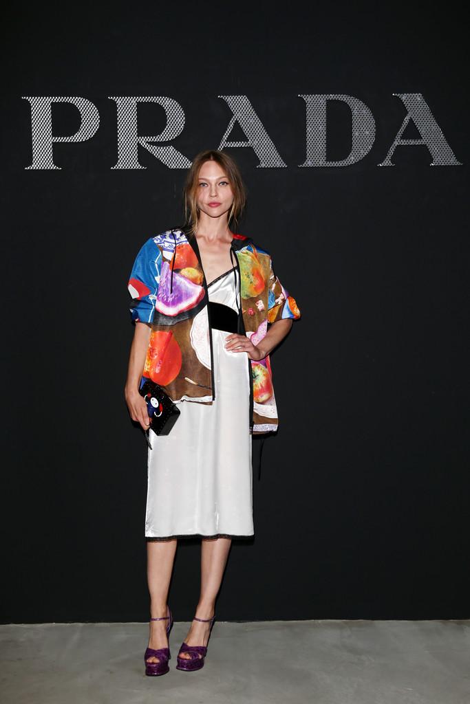 Sasha Pivovarova at Prada Menswear Spring 2017 in Milan