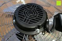 Rückseite: Andrew James großer 45cm Bodenventilator aus Metall – 100 Watt, kraftvoller Luftfluss, 3 Geschwindigkeitseinstellungen und verstellbarer Neigung – 2 Jahre Garantie