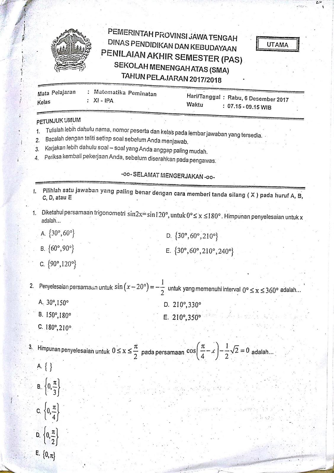 Soal Matematika Kelas 11 Semester 1 Dan Jawabannya : matematika, kelas, semester, jawabannya, Contoh, Matematika, Semester, Kelas, Dapatkan