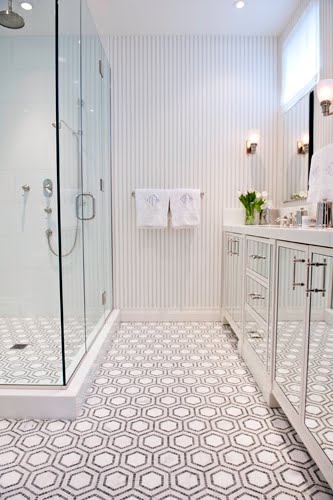Black And White Penny Tile Bathrooms - Modern Home Life Furnishings