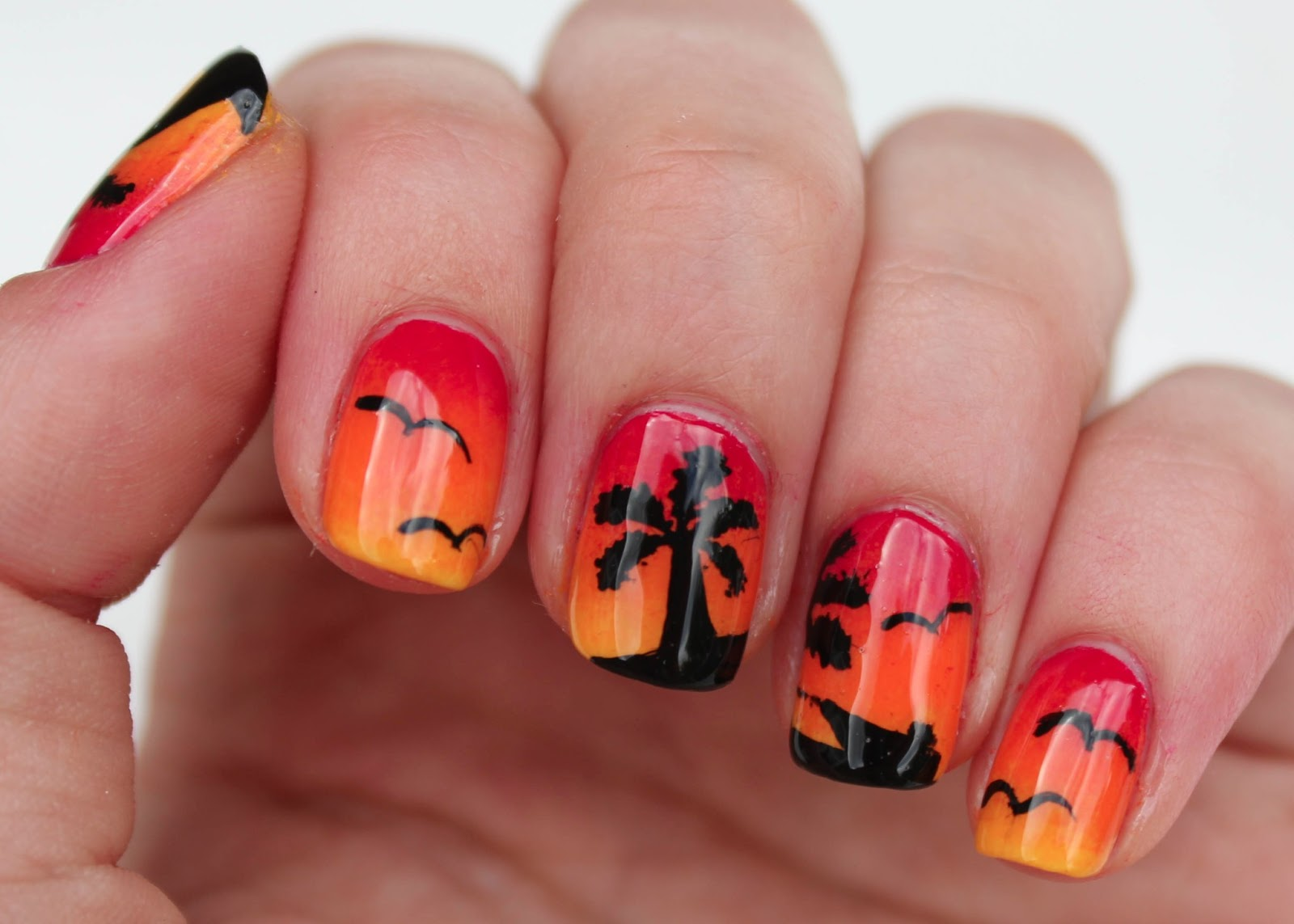 Fundamentally Flawless: Sunset Nail Art with Palm Trees ...