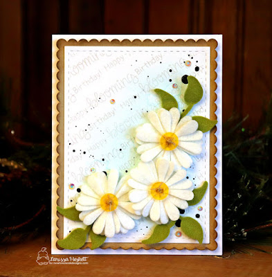 Happy Blooming Birthday By Larissa Heskett    Newton's Nook Designs Products used, Flower Trio Die Set, Load of Blooms Stamp Set, Frames & Flags Die Set, Taylored Expressions Felt, Distress Inks, Black Soot Distress Paint, Pretty Pink Posh Iridescent Jewels