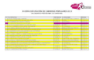 Calendario 3 Copa Diputacion Leon
