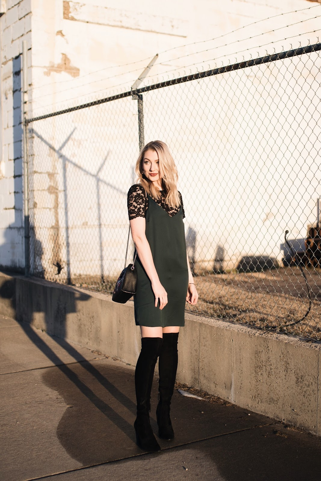 Slip dress with tall boots