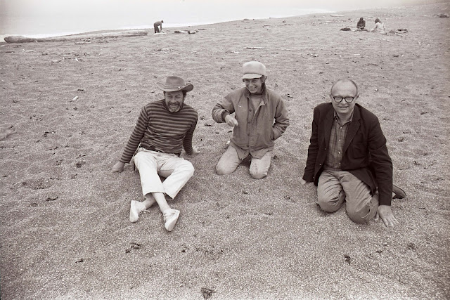 Lawrence Halprin, Anna Halprin, and architect Charles Moore at Sea Ranch, California  Experiments in Environment Workshop, July 4, 1966  Courtesy Lawrence Halprin Collection, The Architectural Archives, University of Pennsylvania