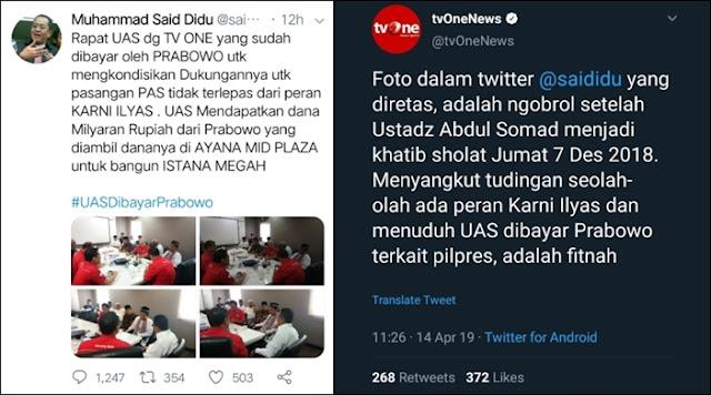 Clear! tvOne Tegaskan Tudingan UAS Dibayar Prabowo adalah Fitnah