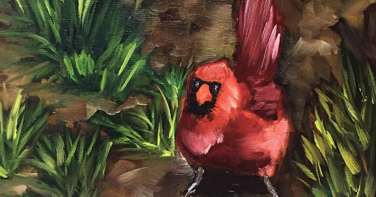 Cardinal Couple, by Melissa A. Torres, 8x10 oil on canvas panel