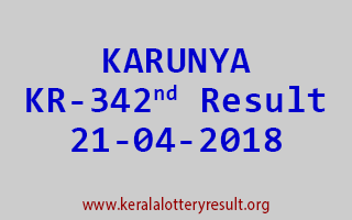 KARUNYA Lottery KR 342 Result 21-04-2018