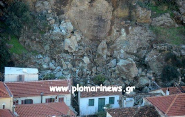 Τρόμος στη Λέσβο: Διαλύθηκαν σπίτια από κατολίσθηση βράχων (βίντεο)