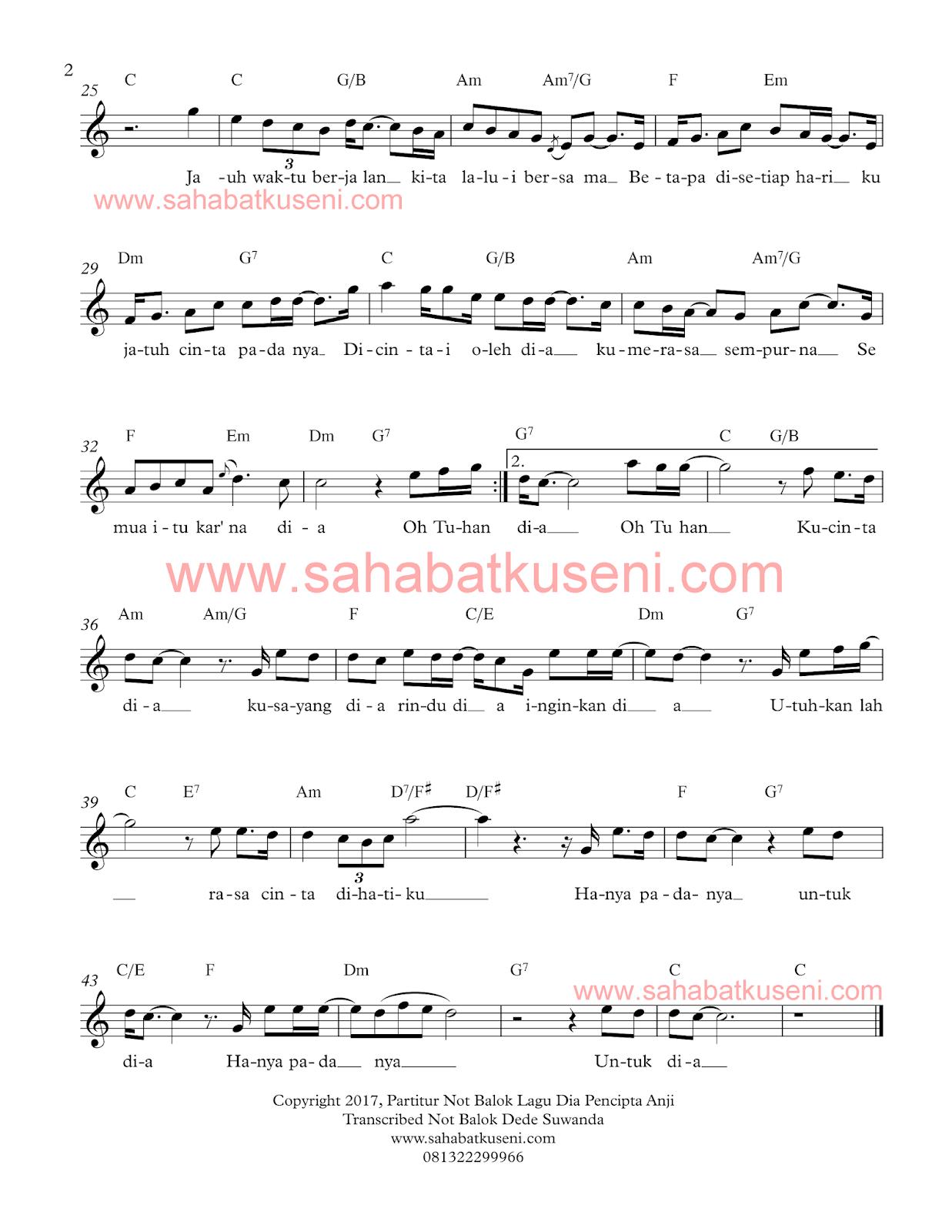 penulisan partitur not balok lagu dia karya dari Anji lengkap kunci C