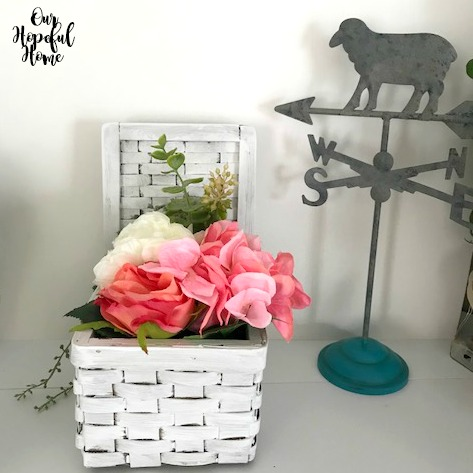 lamb metal tabletop weather vane farmhouse basket flowers