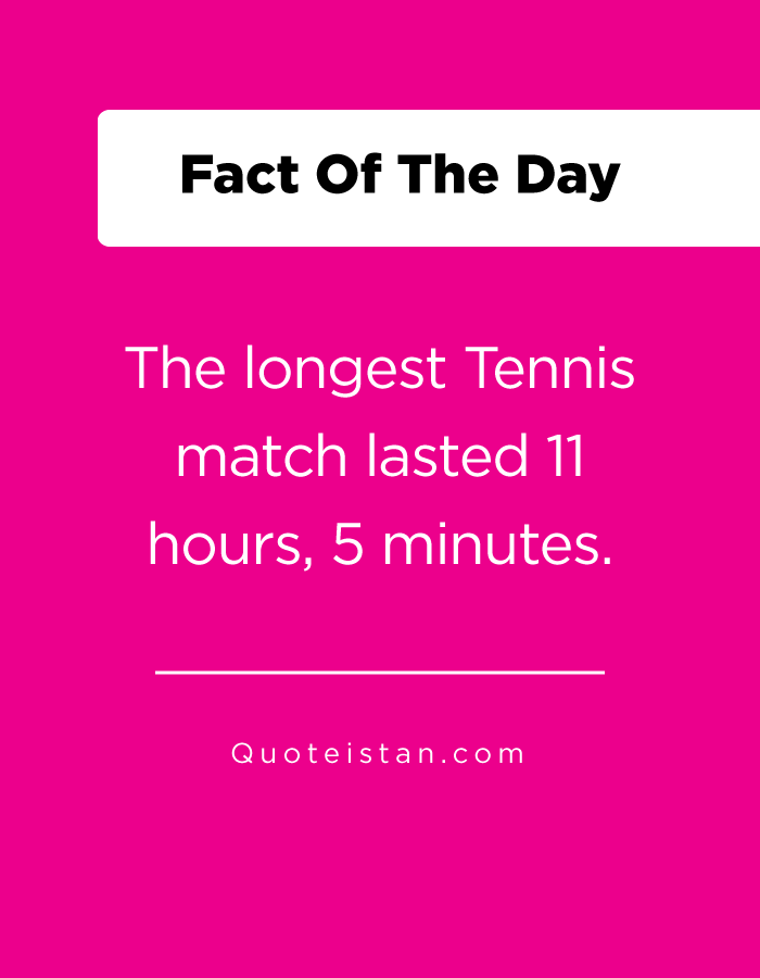The longest Tennis match lasted 11 hours, 5 minutes.