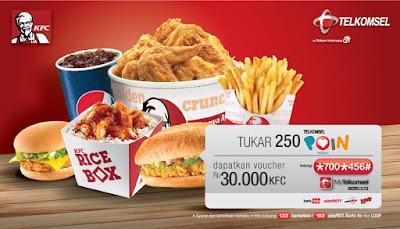 Cara Menukar Poin Telkomsel Ke KFC Dengan Voucher 30 ribu