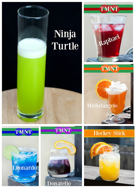 ninja turtle cocktail, TMNT, malibu rum, coconut rum, melon liqueur, midori, pineapple juice, Raphael, Michelangelo, Leonardo, Donatello, Casey Jones, Hockey Stick cocktail