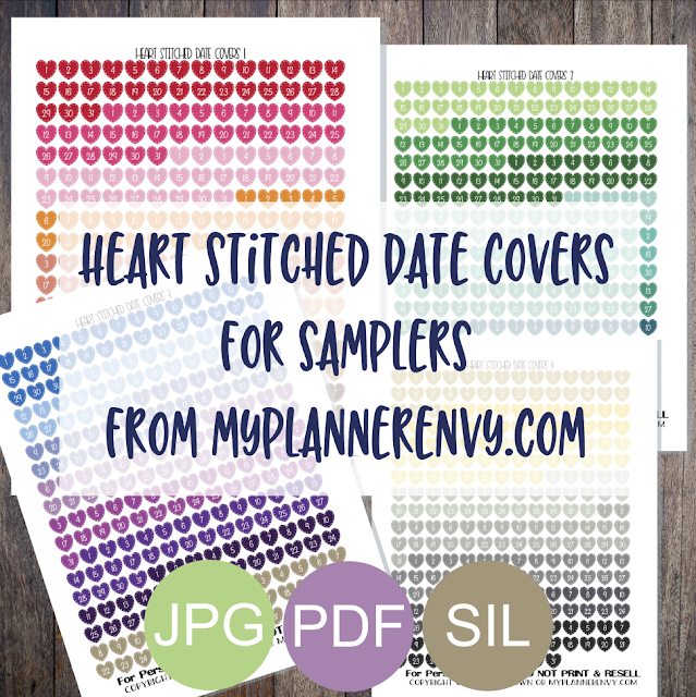 Free Printable Heart Stitched Date Covers for Samplers from myplannerenvy.com
