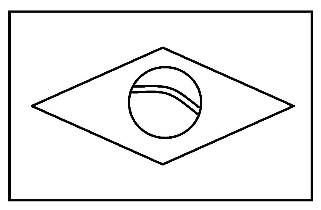 Mewarnai Gambar Sketsa Bendera Negara Brazil Flag Nation