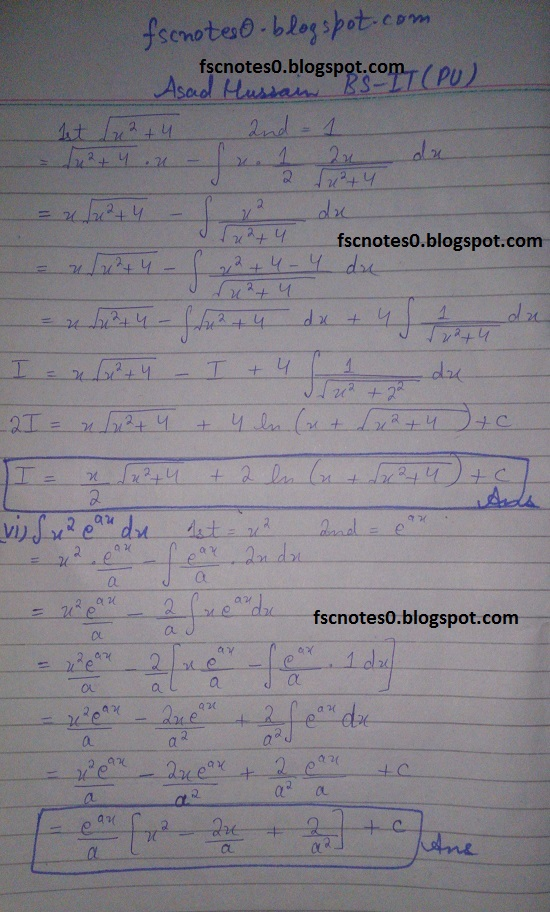 FSc ICS Notes Math Part 2 Chapter 3 Integration Exercise 3.4 Question 4 by Asad Hussain 3