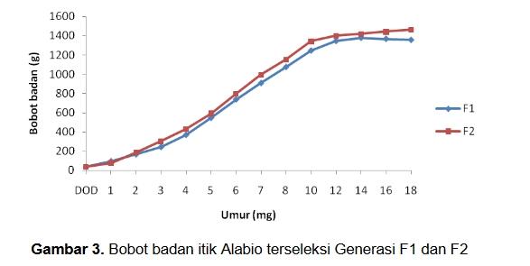 tabel grafik pertumbuhan itik alabio
