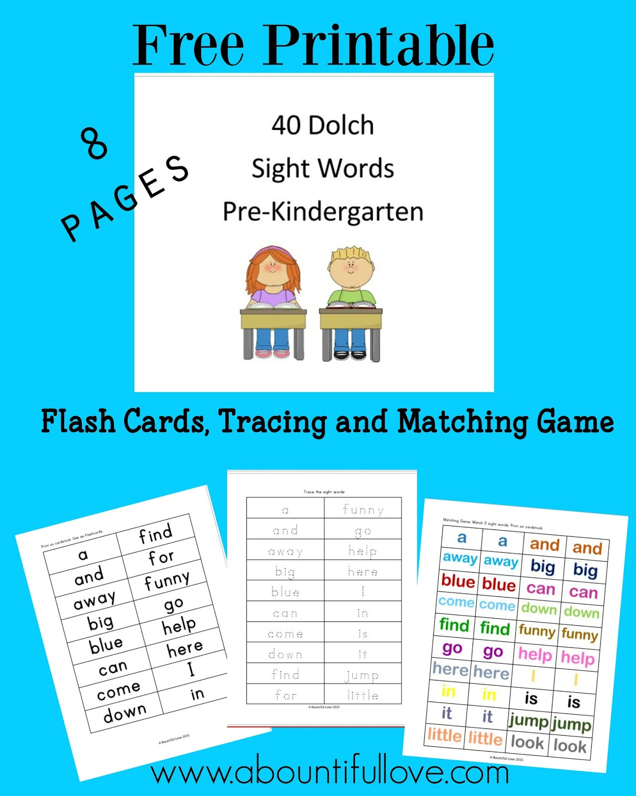 A Bountiful Love 40 Dolch Sight Words For Pre Kindergarten