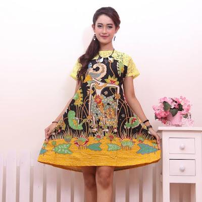 Contoh Baju Batik Wanita Modern Model Batik Terbaru 2018 Batik Pattern Motif Wayang Kuning