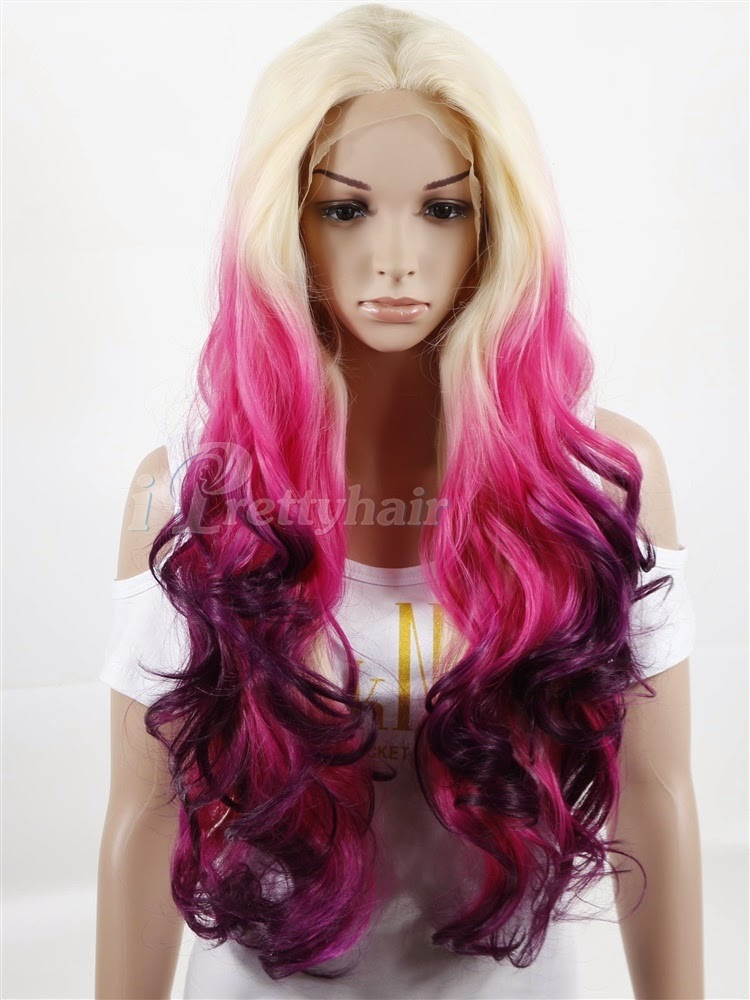 New Arrival Ombre Colorful Synthetic Lace Front Wig New